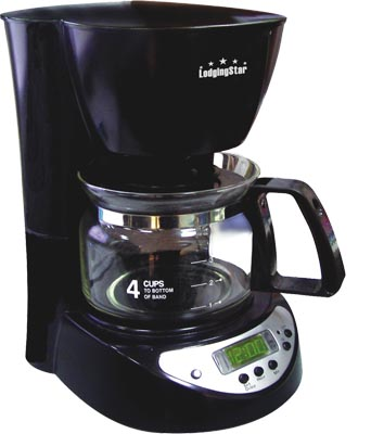 4 Cup Coffee Maker Auto Shut Off : 4-CUP COFFEE MAKER/BREWER, 1 hour auto shut-off, 24 hr preset, Black