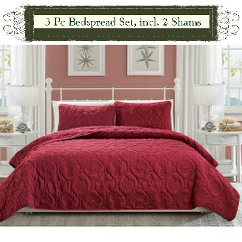 Burgundy Luxury Queen Size 3 Piece Cotton Quilt Bedspread Set, Puff Design,
