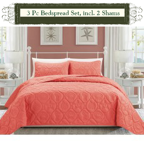 Coral Color Luxury Queen Size 3 Piece Cotton Quilt Bedspread Set, Puff  Design