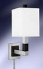 Single Wall Lamp with Electrical Outlet, Brush Steel-19