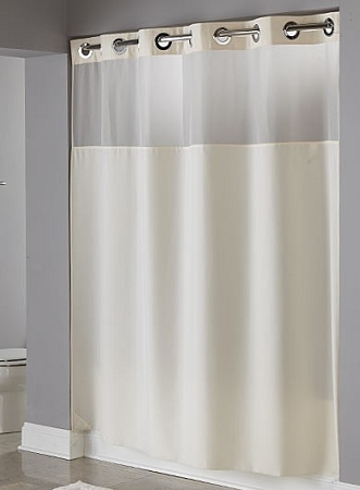 Hookless® ILLUSION 100% Polyester Shower Curtain w/Voile Window, 71x74