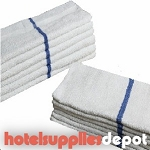 Pool Towels with Blue Center Stripe, Economical, 100% Cotton, Cam Border, 24 x 48