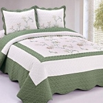 EMBROIDERED SIENNA QUILT Set, Twin Size, Price per Set