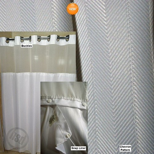 Rujan K A Boo Herringbone Polyester Shower Curtain See Thru Top Window Snap Away White Liner 71x77 Chrome Buckle Hooks