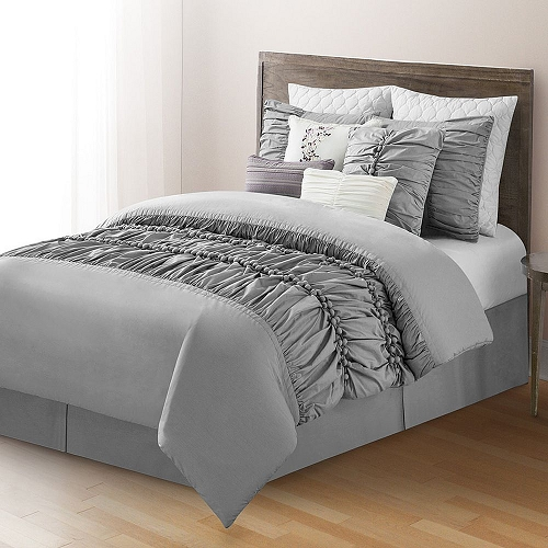 10 Piece Comforter Set Bed In A Bag Bedding QUEEN Size, (GREY) Home
