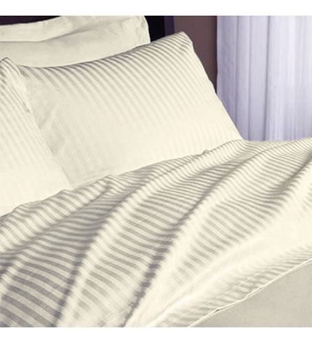 BONE-Hotel SPA & Resort 250 Tc Satin Stripe -1.0 inch, 50/50 Blend, QUEEN FITTED SHEETS, 60x80x14