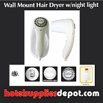 Wall Mount Hair Dryer w/Night Light, 1500 Watts, Auto Shut Off, Night Light, ALCI Safety Plug, White