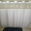 RuJan Peek-A-Boo MOIRE Style Polyester Shower Curtain, See-Thru Top Window & Snap Away White LINER, 72x74