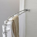 The Crescent Double Curved Shower Rod, 5 Ft. Round, BRUSH Finish (DISCONTINUED BY MFR.)