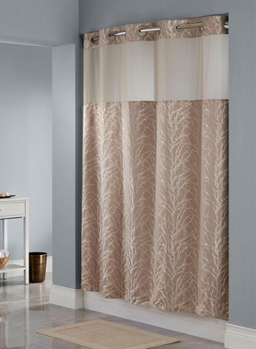 Superieur HOOKLESS® TREE BRANCH  TAUPE SHOWER CURTAIN,100% Polyester Shower Curtain  With Snap