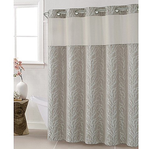 Hookless Tree Branch Taupe Shower Curtain 100 Polyester