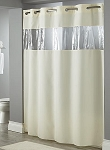 HOOKLESS® VIEW FROM THE TOP, 100% Polyester Shower curtain w/Vinyl Window, 71x74