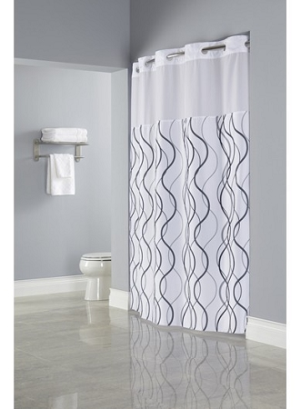 Hookless WAVES SHEER Polyester Shower Curtain With Window 71x77 Whit