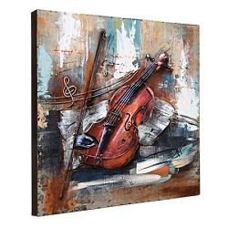 3D Metal Art - 100% Handmade Metal Unique Wall Art - Stereograph Oil Painting, Ready to Hang. VIOLIN, 24x24 Inches, (1 Piece / Box)