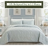 SILVER Color-Luxury Queen Size 3-piece Cotton Quilt Bedspread Set, Puff Design, Starting at $40.50 each