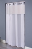 Hookless DOUBLE H PATTERN, 100% Polyester Shower Curtain with It's A Snap!, 71x74