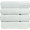 Hotel/Resort SPA-Oxford Signature Bath Mat Mats 22x34 100% Ringspun Cotton w/ Piano Design Dobby Borders & Dobby Hemmed, White (Price Dozen)