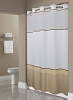 NEW-HOOKLESS® WELLINGTON-TAUPE SHOWER CURTAIN,100% Polyester Shower curtain With Snap Liner, 71