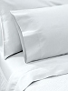 HSD PREMIUM PLAIN WEAVE SATIN HOTEL Bed Sheets - 250 Tc, 60% Cotton/40% Polyester, WHITE-King Flat XL, 108x115