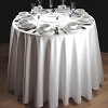 Hotel, Restaurant, Party Rentals-64 in. Round Spun Polyester Tablecloth, Color: White, Price Each