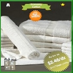 Hand Towels, Hotel/Motel Economical, 100% Cotton, Cam Border, 15 inch x 25 inch, White 2.25 Lb/Dz  Price per Dozen.