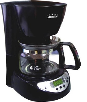 4-CUP COFFEE MAKER/BREWER, 1 hour auto shut-off, 24 hr preset, Black