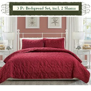 Burgundy-Luxury Queen Size 3-piece Cotton Quilt Bedspread Set, Puff Design, Starting at $40.50 each