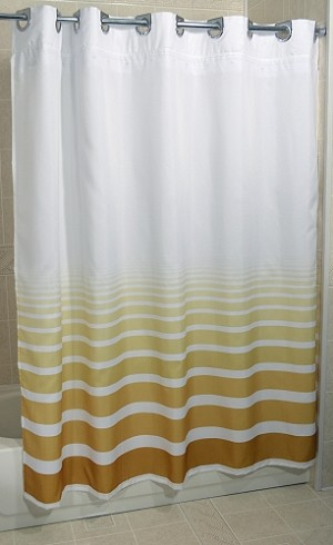 "New - RuJan HORIZON-Ezy-Hang White Header with Chrome Buckles and Snap Away Liner, 6' X 6' (70"" Wide x 74"" Long)-Color-Honey Mustard"