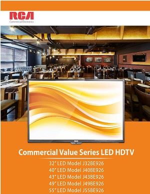 "40"" RCA - Commercial Value Lodging Hotel-Hospitality LED HDTV (Model J40BE926) - 1yr. Warranty. 1 FREE WITH 10"