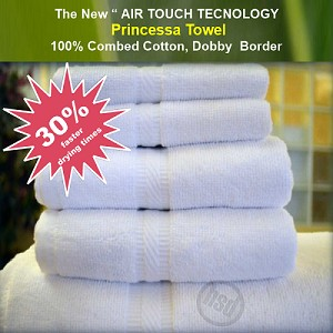"AIR TOUCH TECHNOLOGY FAST DRY "" PRINCESSA - Fluffy White- 12 PC BATH Towels SET"