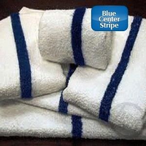 "WHOLESALE-HOTEL MOTEL - Blue Center Stripe 100% Cotton Pool Towel - 24x48"", 8.0 lb/Dz, Price per dozen ( low as $18.84 dz)"