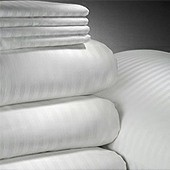 "HOTEL RESORT Wrinkle Free 250 Tc Satin Stripe - 0.5cm, 60/40 Blend, King Pillow Case, 42x46"", per dozen"