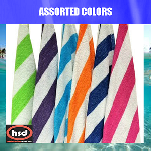 "WHOLESALE CABANA HOTEL POOL Towels, 32"" x 65"", ASSORTED 6 COLORS, 24 Units per case (low as $ 7.48 ea)"