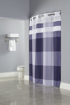 "BLUE Hookless® DEVAN, Shower Curtain with It's A Snap!® liner, 100% polyester 71""x77"". Case of 12. (Low as $29.96 each)"