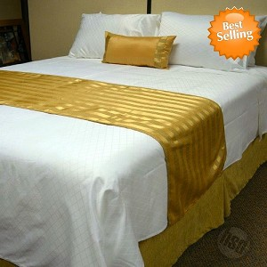 Hotel JACQUARD STRIPE, Bed Runners-Scarfs,100% Micro Polyester SUEDE, SOLID COLOR, KING (low as $38.39 each)