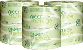 "Atlas Paper Mills Green Heritage Toilet Tissue, 4.1 x 3.1"", 2-Ply, 500/Sheets, 96Rolls/case"