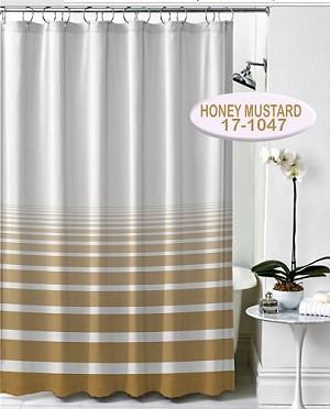 "NEW RuJan HORIZON Polyester Shower Curtain, (Lines faded horizontally) Color: HONEY MUSTARD  70x72"", Style SEWN EYELET/HOOK  (COPY)"