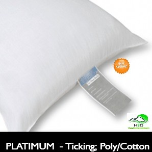 PLATINUM LABEL Hotel Pillow, Premium polyes­ter / cotton fiber Ticking, Standard 26oz fill.,Case of 12, low as $ 6.02 ea
