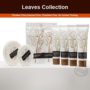 "New Product - LEAVES Collection, Hotel Carton Vanity Kit (3 Cotton buds + 3 Cotton Disc) ""Case of 500"" ($0.171 ea.)"