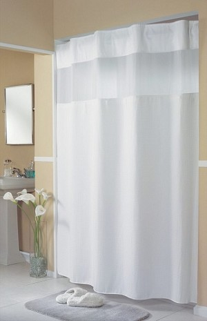 Hookless MINI WAFFLE Spa like Pattern Polyester Shower Curtain with Window, 72x77
