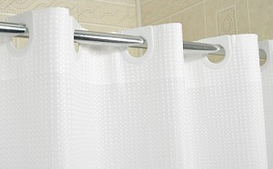 "Ramsey Ezy-Hang Polyester Hotel 300 Denier Shower Curtain 72x74"", Color WHITE, Price Each (Starting at $19.25ea)"