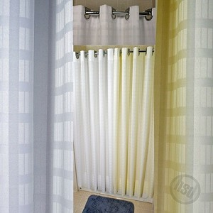"Rujan Peek-A-Boo DYNASTY Style Polyester Shower Curtain, White 71x74"", Chrome Buckle Hooks Without window, (low as $21.95)"