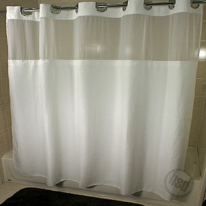 "Rujan Mini WAFFLE Polyester Shower Curtain, See-Thru Top Window & Snap Away White LINER, 72x74"" , Chrome Buckle Header"