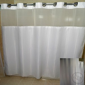 RuJan Peek-A-Boo Herringbone Polyester Shower Curtain, See-Thru Top Window & Snap Away White LINER, 71x77