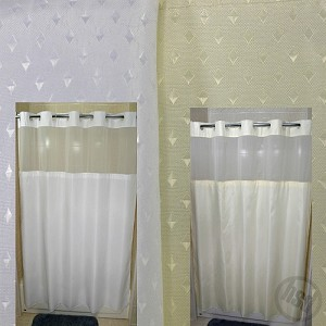 "Rujan Peek-A-Boo STARDUST Style Polyester Shower Curtain, See-Thru Top Window & Snap Away White LINER, 72x74"", (low as $54.95)"