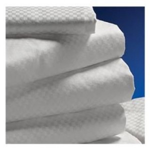 "Centium Satin MICROCHECK White Hotel Sheet by Standard Textile, King Fitted 78x80+14"" deep"