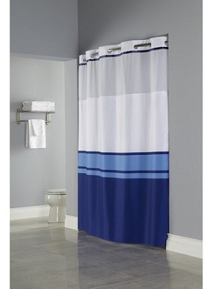 "BLUE Hookless® BROOKS, Shower Curtain, 100% polyester 71""x77"""