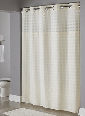 "BASKET WEAVE BEIGE HOOKLESS® SHOWER CURTAIN,100% Polyester Shower curtain With Snap Liner, 71""x77"" (low as $49.46)"