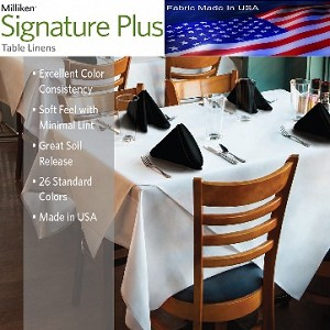 "Milliken Signature Plus Table Napkins, 100% Spun Milliken Polyester, 21"" x 21"", Case of 12 each (low as $ 1.43 ea), WHITE"