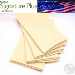 "Milliken Signature Plus Table Napkins, 100% Spun Milliken Polyester, 21"" x 21"", Case of 12 each (low as $ 1.43 ea) IVORY"